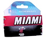 NBA Miami Heat Silicone Rubber Bracelet Set, 2-Pack