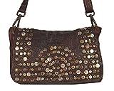 Panego - kleine Umhängetasche Ledertasche Abendtasche mit Vintage Nieten Ausgehtasche Schultertaschen 26x18x7 (B x H x T), Farbe:Mahogany Braun