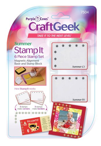 Purple Cows 7504 Craftgeek Stamp It 6-Piece Stamp Set, Summer Theme, Purple