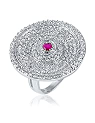 Mahi Rhodium Plated Cocktail Ring With CZ & Ruby Stones For Women FR1100413R