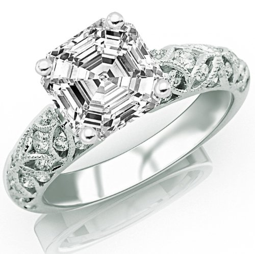 1.49 Carat Asscher Cut / Shape 14K White Gold Vintage Style Channel Set Filigree Diamond Engagement Ring ( K-L Color , Vs2 Clarity ) - Size 8