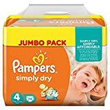 Pampers Windeln Simply Dry Gr. 4 Maxi 7-18 kg Jumbo Pack, 2er Pack (2 x 74 Stück)