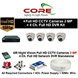 CORE 4-CH FULL HD DVR 2-MP ( 1080P). WITH 1-TB HARD DISK , 2-MP DOME CAMERA 4-PC, 4-CH POWER SUPPLY , 3+1 WIRE ROLL, WITH BNC /DC CONNECTORS COMBO PACK.