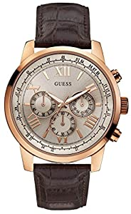 GUESS Men's U0380G4 Chronograph Brown Watch with Silver-Tone Case & Genuine Leather