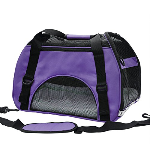 Pet Cuisine Breathable Soft-sided Pet Carrier, Cats Dogs Travel Crate Tote Portable Handbag Shoulder Bag Outdoor Purple M
