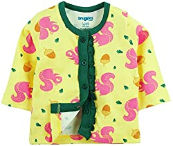 Snuggles Full Sleeve Front Open Jabla Squirrel Print - Pastel Yellow (0-3M)
