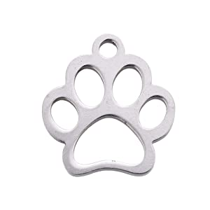 DanLingJewelry 304 Stainless Steel Dog Paw Print Charm Doggy Cat Animal Footprint Pendant for DIY Crafting Bracelet Necklace Jewelry Findings(Stainless Steel Color-20pcs,12.9 x 11.8 x 1mm,Hole: 1.5mm) (Color: 20pcs(12.9 x 11.8 x 1mm,hole: 1.5mm))