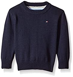 Tommy Hilfiger Baby Boys\' Long Sleeve Alan Crew Neck Sweater, Swim Navy, 24 Months