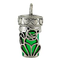 Perfect Memorials Cat Green Glass Cremation Jewelry