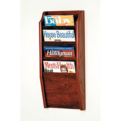 Wooden Mallet 4 Pocket Cascade Magazine Rack, Mahogany
