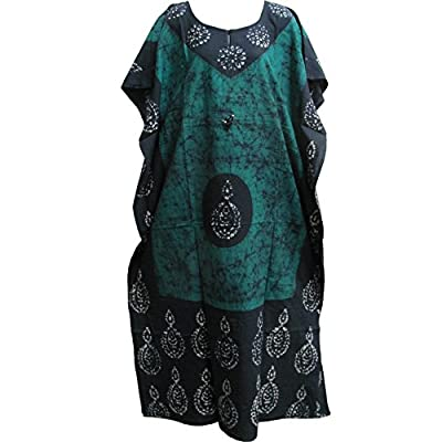 Indian Cotton Batik Paisley Floral Aqua-Green Toned Bohemian Long Caftan/Kaftan #5