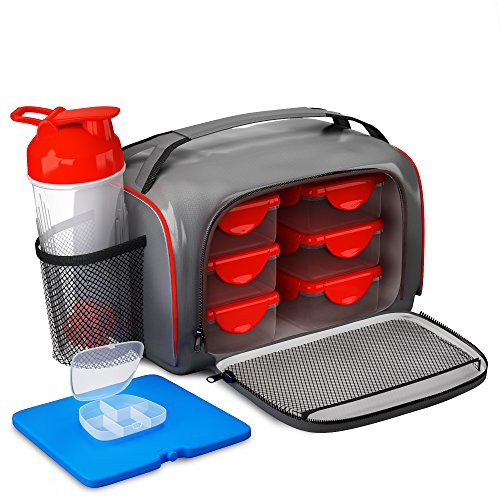Meal Prep Lunch Fitness Bag - Includes 6 Portion Control Container Set, Reusable Ice Pack, Shaker Blender Cup and Pills Fit Pack (Meal Pack compare prices)