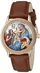"""The P.S. Collection by Arjang and Co. Women's HY-1022R-LB """"Madonna and Child with Young John The Baptist"""" Rose Gold Colored Stainless Steel Mother Of Pearl Dial Brown Leather Strap Watch"""