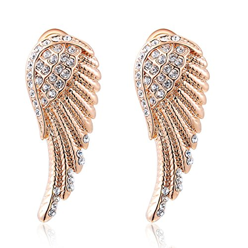 Yc-Catenina con ciondolo, ali d'angelo, placcato in oro rosa 18 k, con Zirconia cubica e orecchini a perno, motivo signora elegante