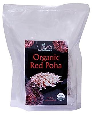 Jiva USDA Organic RED Poha (Beaten Rice) 14 Ounce Bag from Jiva Organics