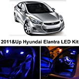 Hyundai Elantra 2011 & Up Blue Premium LED Interior Lights Package Kit (6 Pieces)