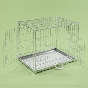 "30"" Dog Cages Puppy Crate Medium Silver Cat Folding Metal Cage 30"" x 21"" x 23"""