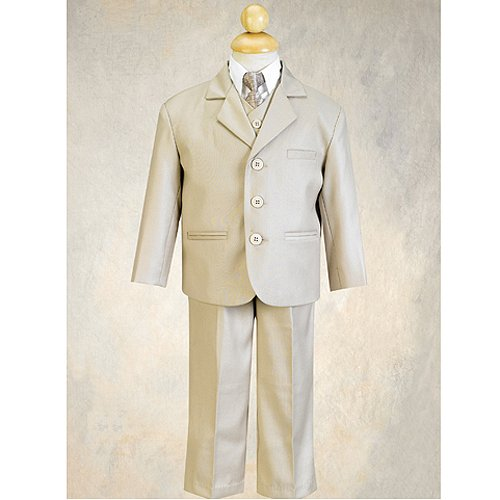 Little Boys Khaki Special Occasion Wedding Easter 5pc Suit Set 12M-14