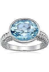 Sterling Silver Round Bezel Set Blue Topaz Ring, Size 7