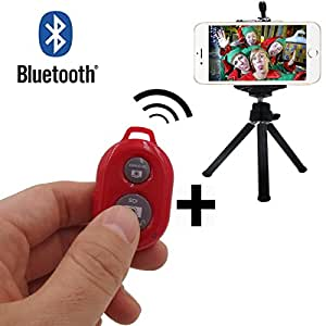 TBMax SK-05 Wireless Bluetooth Selfie Remote with Tripod and Cellphone Holder Portable Lightweight Simplified Self Portrait Mini Selfie Shutter for Apple iPhone 6 5S 5C 5 Samsung Galaxy Note 4 3 2 S5 S4 S3 Google Nexus Sony Android Cellphones (Red)