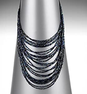 Multi-Faceted Bead Cascade Collar Necklace