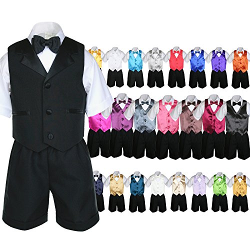 Unotux 6Pc Baby Boy Black Formal Bow Tie Shorts Suit Extra Vest Bow Tie Set S-4T (3T, Fuchsia)