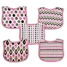 Neat Solutions 5 Pack Graphic Print Interlock Feeder Bib, Girl