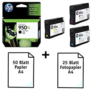 Original HP 4 Inks HP 950XL & 951XL - 1x Black CN045AE + 1 X 951XL Cyan CN046AE, Magenta CN047AE & Yellow CN048AE. + 50 sheets A4 SilverTrade Paper 80g/m² + 25 Blatt A4 SilverTrade Photopaper 180g/m. For use in OFFICEJET PRO 8100,8600,8600 Plus & others