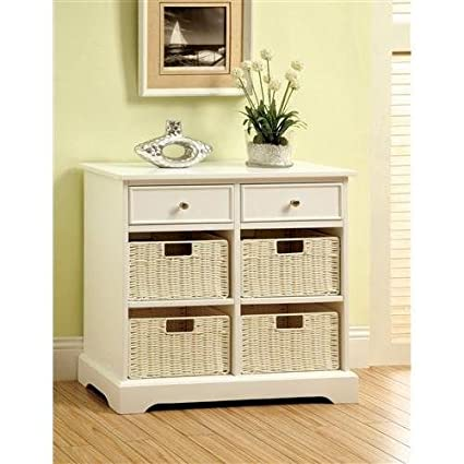 Mwave IDF-AC6317 Melinda Contemporary Cabinet with Storage Baskets, Material: Wood, wood veneers, Finish: White