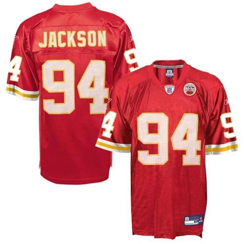 Reebok NFL Equipment Kansas City Chiefs #94 Tyson Jackson AFL 50th Anniversary Red Replica Football Jersey (Large)