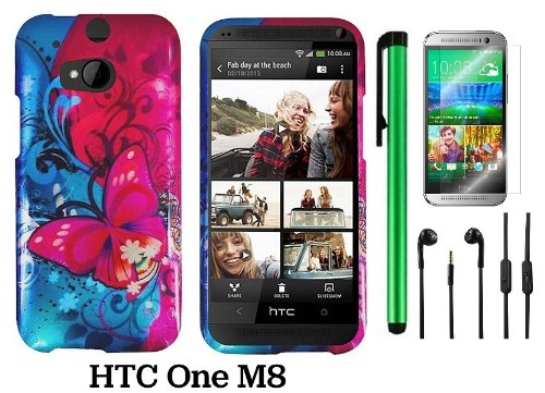 Htc One (M8) (For 2014 Htc New Flagship Android Phone; Us Carrier: Verizon, At&T, T-Mobile, Sprint) Premium Pretty Design Protector Hard Cover Case + 3.5Mm Stereo Earphones + Screen Protector Film + 1 Of New Assorted Color Metal Stylus Touch Screen Pen (P