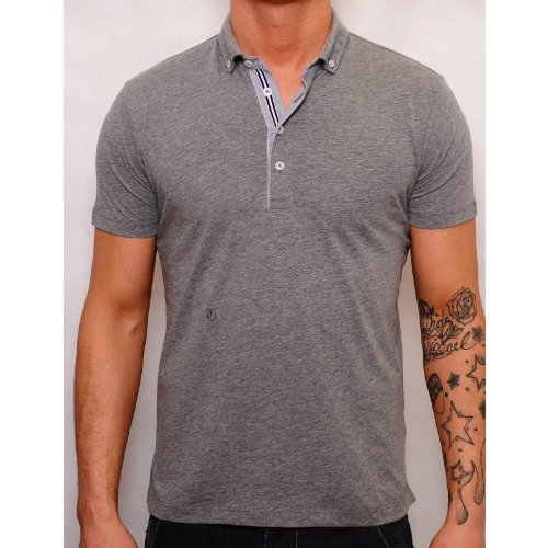 Peter Werth Mens Grey Polo P1H04006 Irving Embroidered Logo Contrast Trim Grey Medium