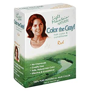 Light Mountain Natural Color The Gray! Hair Color & Conditioner, Red, 7 oz (197 g) (Pack of 2)