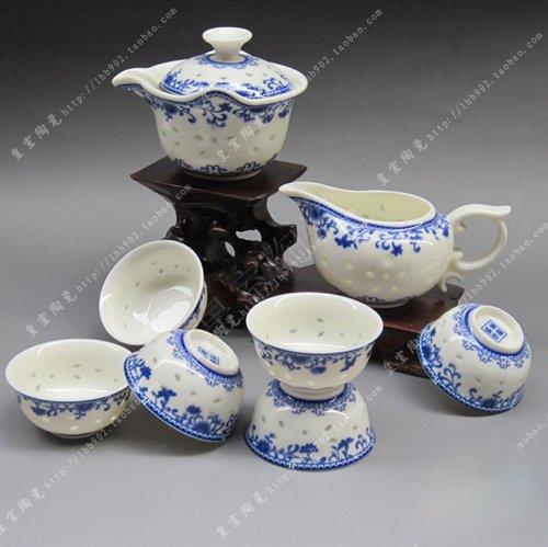 Ufingo-Blue And White Exquisite Porcelain Ceramic Hollow Kung Fu Tea Set Tea Service