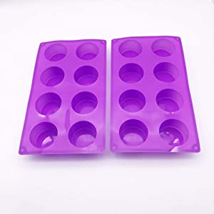 (2 Pack) 8-Cavity Round Silicone Mold for Soap, Cake, Bread, Cupcake, Cheesecake, Cornbread, Muffin, Brownie, and More