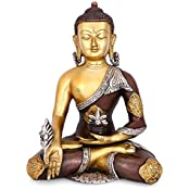 "Collectible India 12.5"" Large Buddha Bronze Idol Astmangal Medicine Buddha Statue -Hand Carved Tibetian Buddha..."