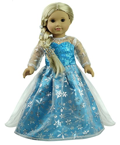 CNACCASU Elsa Snowflake Print One Piece Princess Dress for 18 Inch American Girl Doll Clothes(FBA)