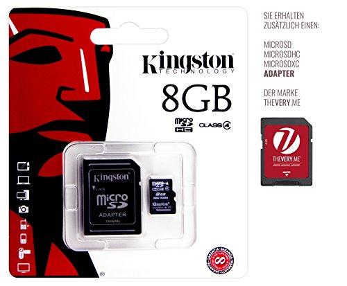 Speicherkarte für Tomtom Start 60 EU - Kingston 8GB microSDHC Class 4 inkl. SD Adapter - Speicherchip, Speichererweiterung