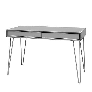 more design vintage desk gr bureau bureau mdf laqu pieds m tal gris clair fonc clair. Black Bedroom Furniture Sets. Home Design Ideas