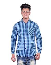 Cotblend Men's Casual Shirt (COTBLEBD33-M, Blue, M)