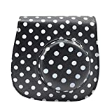 Lensfo PU Leather Fuji Mini Case For Fujifilm Instax Mini 8 With A Detachable Single Shoulder Strap - White Dots...