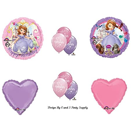 """You will receive with this kit:One (1) 17"""" Happy Birthday Pink Sofia round mylar balloon.One (1) 17"""" Lavender Sofia Round  mylar balloon.Two 18"""" Heart Shaped mylar balloons...one pink and one lavender.Six (6)  11"""" Princess latex bal..."""