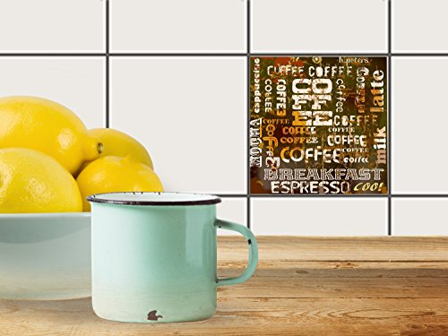 fliesenfolie selbstklebend 10x10 cm 1x1 design coffee typo. Black Bedroom Furniture Sets. Home Design Ideas