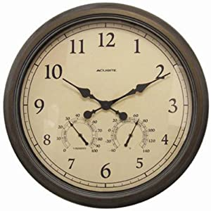 AcuRite 01061 24-Inch Patina Indoor/Outdoor Wall Clock with Thermometer and Hygrometer from Chaney Instruments