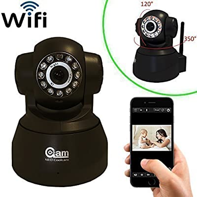 Coolcam WiFi IP Network Camera, Wireless, Video Monitoring, Surveillance, Security Camera, Plug/Play, Pan/Tilt with 2-Way Audio and Night Vision IR Camera