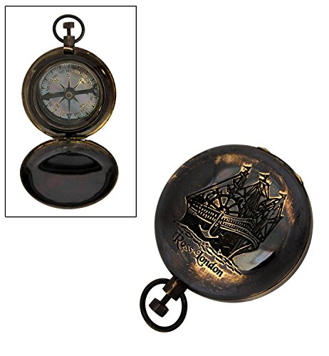 Christmas Gifts Antique Brass Outdoor Camping Hiking Pocket Compass Geometry with Cover (4 X 5 X 3) Collectible Directional Accessory