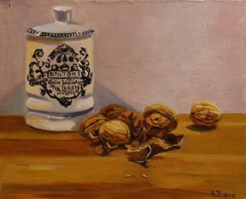 noix-et-stilton-nature-morte-peinture-a-lhuile-originale-et-unique-par-anne-zamo