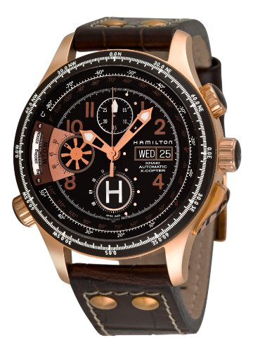 Hamilton Men's H76646533 Khaki 'Aviation X-copter' Black Chronograph Dial Watch