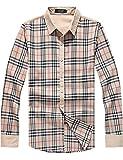 SSLR Men's Classic Checkered Long Sleeve Shirt (Small, Khaki)