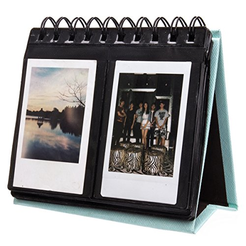 [Fujifilm Instax Mini Photo Album] Woodmin 68 Pockets Desk Calendar Album for Fuji Instant Mini 70 7s 8 25 50s 90, Polaroid Z2300, Polaroid PIC-300P Film(Blue) (Pic Display Case compare prices)